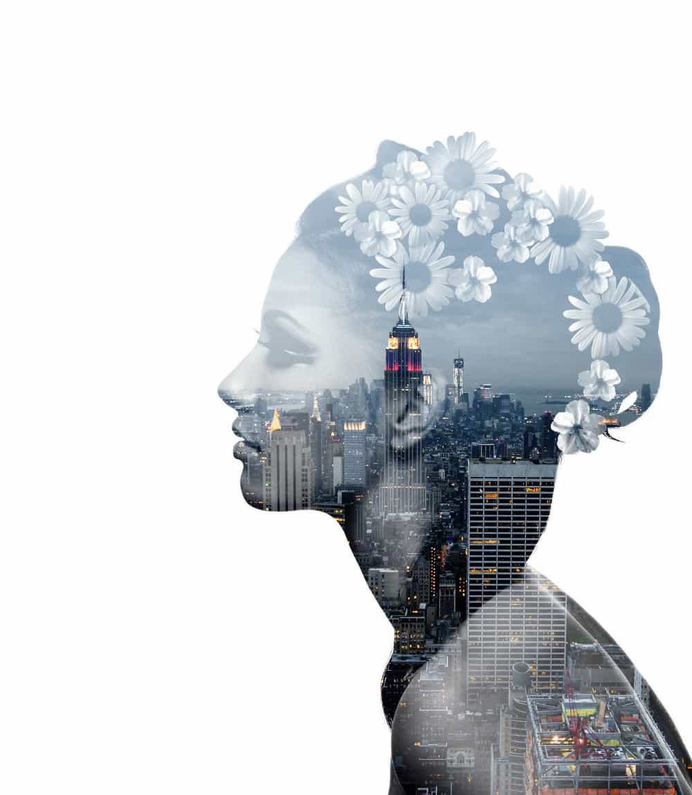photoshop artwork of a female and nyc